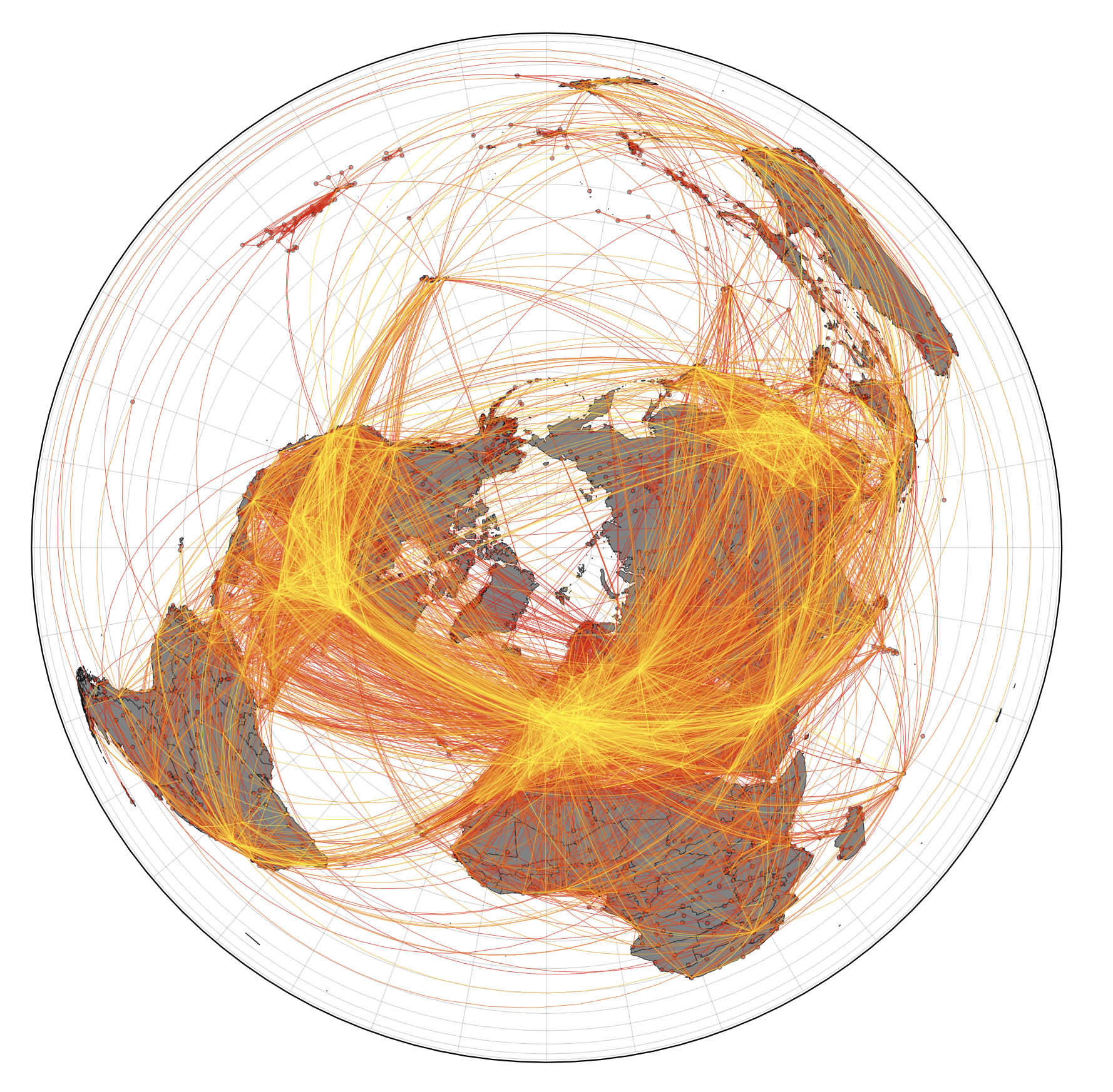 **Worldwide air transportation network.** This network of global mobility is the foundation of the computational model that predicts import risks, most probable spreading routes, and the importance of specific airports in the global dissemination of COVID-19.